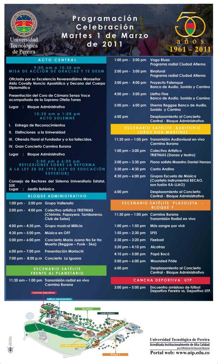 Programación de los 50 años de la Universidad Tecnológica de Pereira
