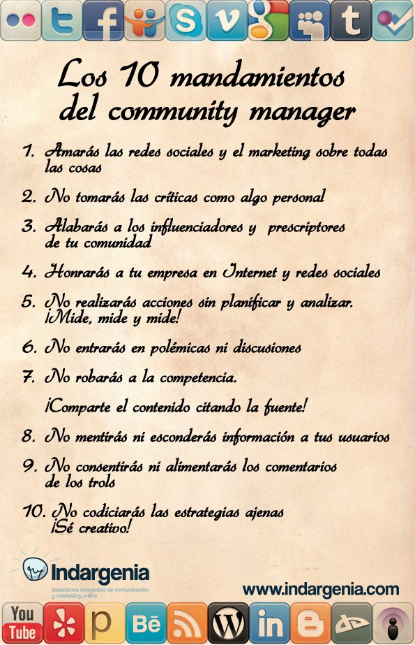 Los 10 Mandamientos del Community Manager