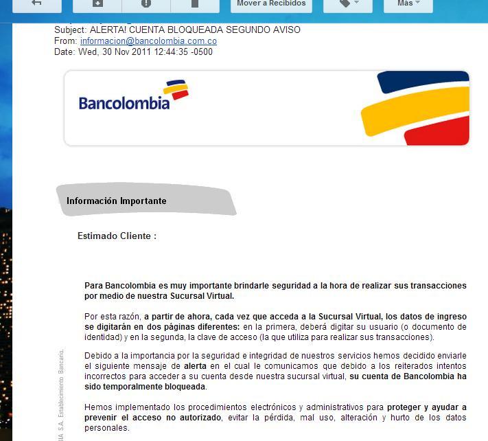 Correo Electrónico de Bancolombia, Phishing, No Se Deje Engañar