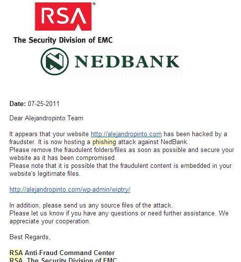 Mensaje de RSA (The Security Division of EMC), defendiendo su cliente RedBank